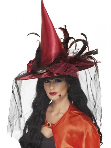 Čarodějnický klobouk deluxe - červený - Ptákoviny Karneval cc10973548
