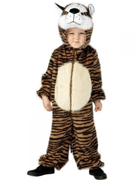 9b2fda104657 Nádherný dětský kostým Tygra se oblékne jako kombinéza na celé tělo. Je to  světle hnědá chlupatá látka s pruhy a s kapucou