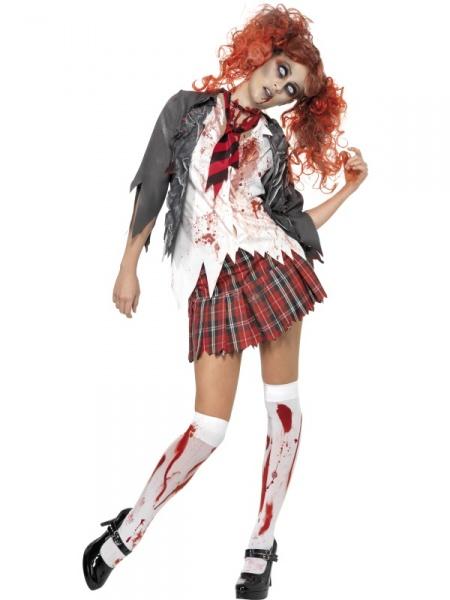 Chystáte se na Halloween party  Pak Vám nesmí chybět náš zombie kostým  školačky! Tvoří ho šedá bunda 7af8da93926